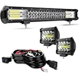 TURBO SII 20inch 126W 12600LM LED Light Bar Kit 2Pcs 4inch 60W LED Pods Driving Fog Light Bar with Wiring Harness Flood…