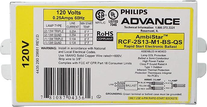 Advance Rcf 2s13 M1 Bs Qs Electronic Fluorescent Ballast 2 Lamp Cfl Triple Quad 13w 120v Amazon Com