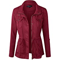 makeitmint Women's Soft Tencel Zip Up Utility Anorak Pocket Light-Weight Jacket