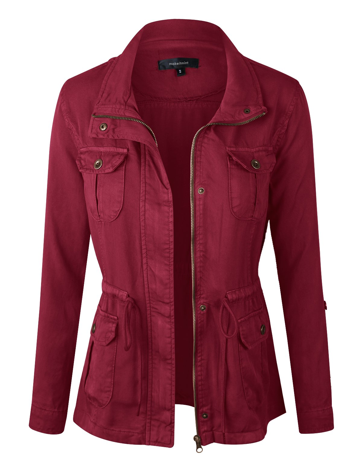 makeitmint Women's Soft Tencel Zip Up Utility Anorak Pocket Light-Weight Jacket YJZ0067-BURGUNDY-LRG