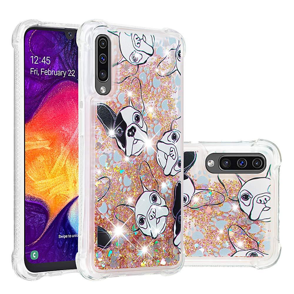 Abuenora Funda para Huawei P Smart 2018 Carcasa Purpurina Transparente Silicona Antigolpes 360 Flexible Case con Lentejuelas Dibujo Perro