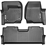 OEDRO Floor Mats Compatible for 2017-2020 Ford F-250 / F-350 Super Duty Crew Cab,Unique Black TPE All-Weather Guard…