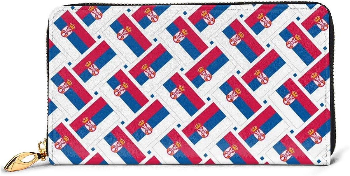 Serbia Flag Weave Wallets For Men Women Long Leather Checkbook Card Holder Purse Zipper Buckle Elegant Clutch Ladies Coin Purse