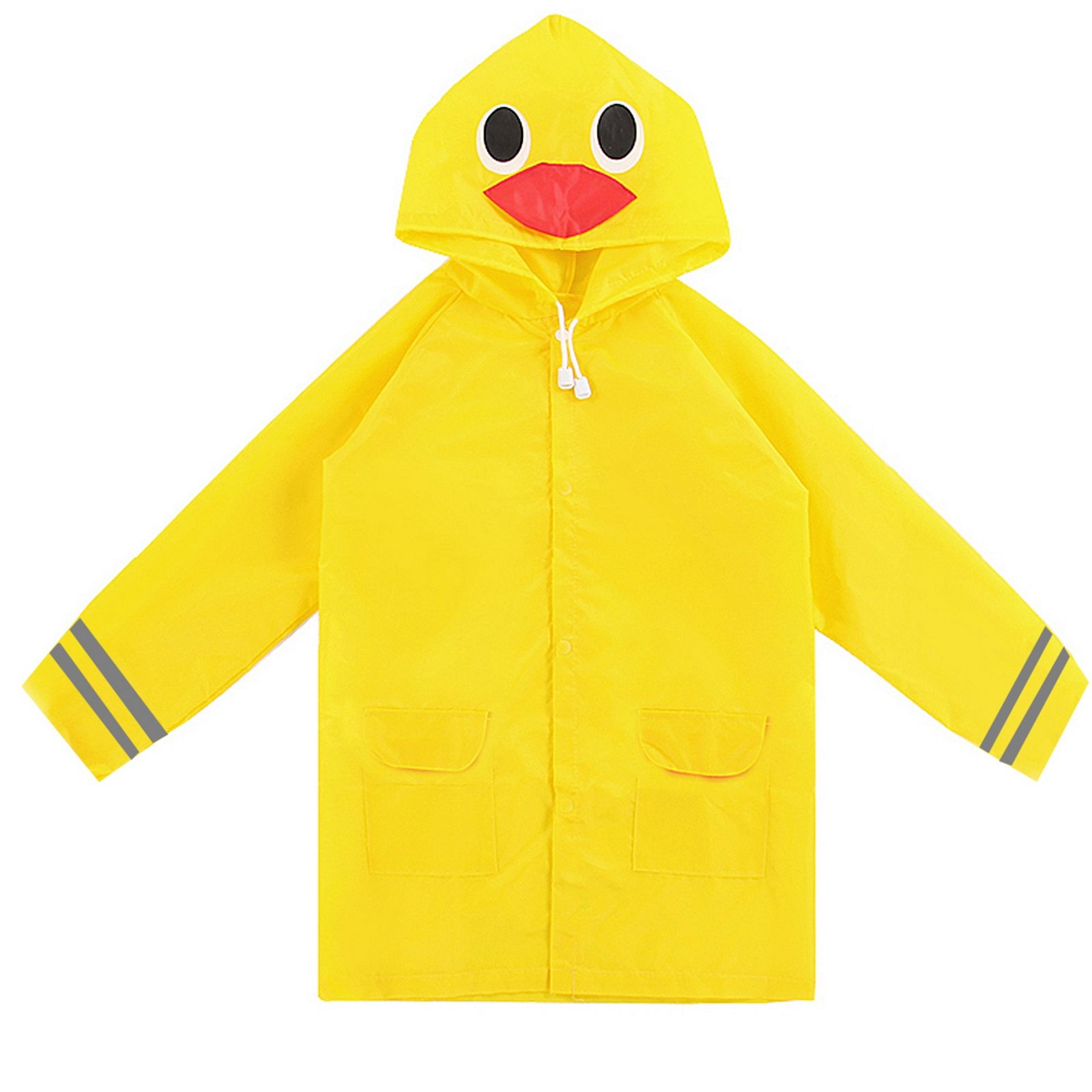TRIBUTE Safe PVC Free Kids Rain Coat Boys or Girls Ages 7-12 Rain Poncho For Children With Zipper Fun Raincoat, Yellow Duck by TRIBUTE (Image #2)