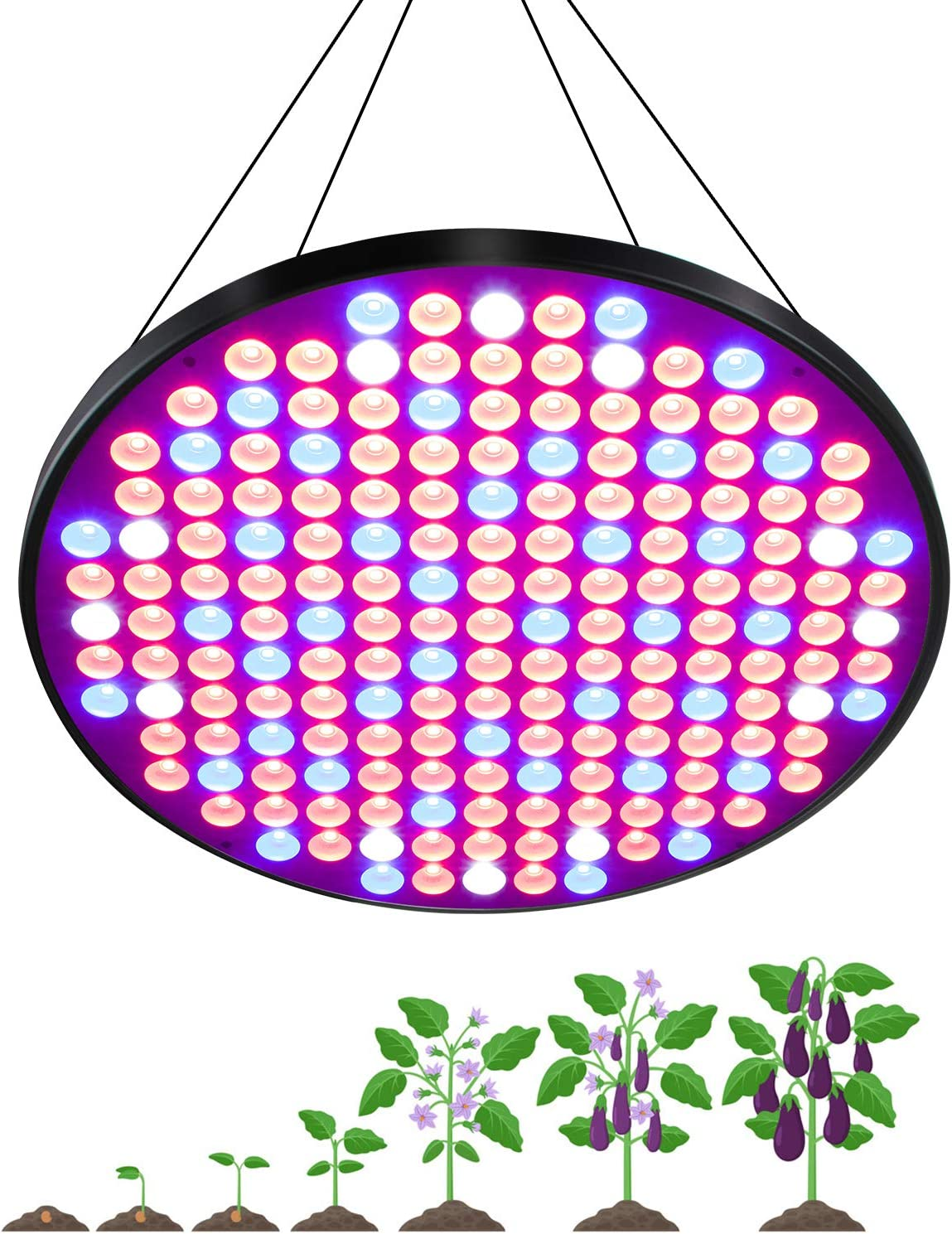 50W UFO LED Grow Lights, FullightGrow Ultra-Thin & High-Efficiency Red Blue Full Spectrum Plants Light for Indoor Growing, Seedling, Vegetative, and Flowering, 2 Years Warranty