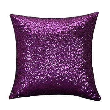 Beauty DIY Mart Funda de Cojín Almohada Lentejuelas, Cubierta del Brillo Cuadrado 40 x 40 CM Sólido para Decoración Adorno de Hogar Púrpura