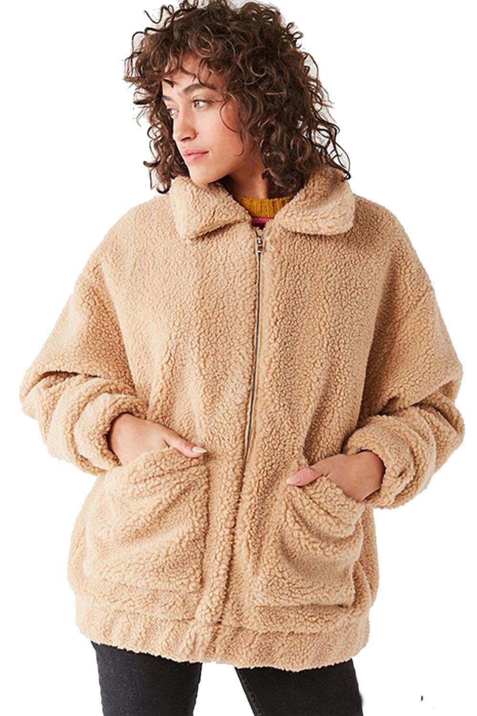 Kooosin Women's Warm Fluffy Long Sleeve Faux Shearling Zip Fastening Winter Coat Plus Size (DK070-M, Camel) by Kooosin (Image #2)