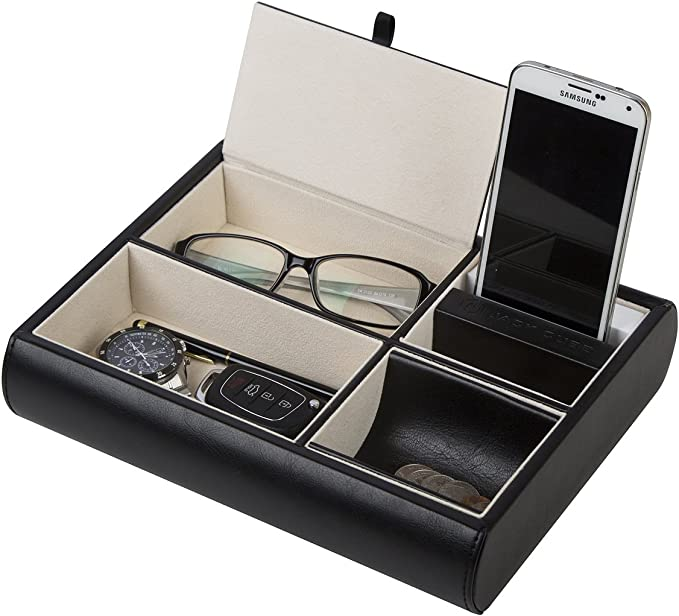 Valet Tray Nightstand Desk Or Dresser Organizer Catch All For Keys Phone Wallet Coin Jewelry And More Black 10 34 X 2 15 X 8 19 Inches