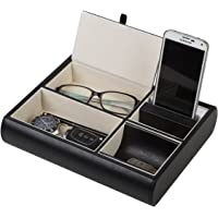 JackCubeDesign Leather Valet Tray,Nightstand Desk Or Dresser Organiser, Catch-All for Keys, Phone, Wallet, Coin, Jewellery, and More (10.34 x 5.5cm x 21cm) - MK158(Black)