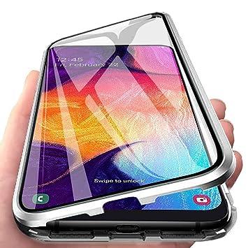 Funda para Samsung Galaxy A7 2018 Adsorcion Magnetica Carcasa 360 Grados Protección Estuche Doble Untre Delgada Háptico Vidrio Templado Marco Aluminio ...
