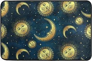 Ollabaky Moon Sun Stars Doormat Non-Slip Washable Entrance Bathroom Door Floor Mats Indoor Outdoor Decor Rug 23.6