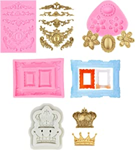 4pcs Crown Silicone Frame Mold for Making Cake, Bread, Mousse,Jelly, Prepared Food, Chocolate, Ice Cube, Pudding, Jelly, Handmade Soap, Moon Cake,Rice Ball, Turning Sugar (Style 1)