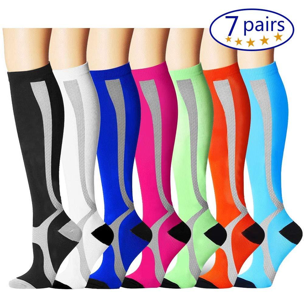 Bluemaple Compression Socks,(3or7pair) for Women & Men - Best for Running, Athletic Sports, Crossfit, Flight Travel -Maternity Pregnancy, Shin Splints Best Compression Socks