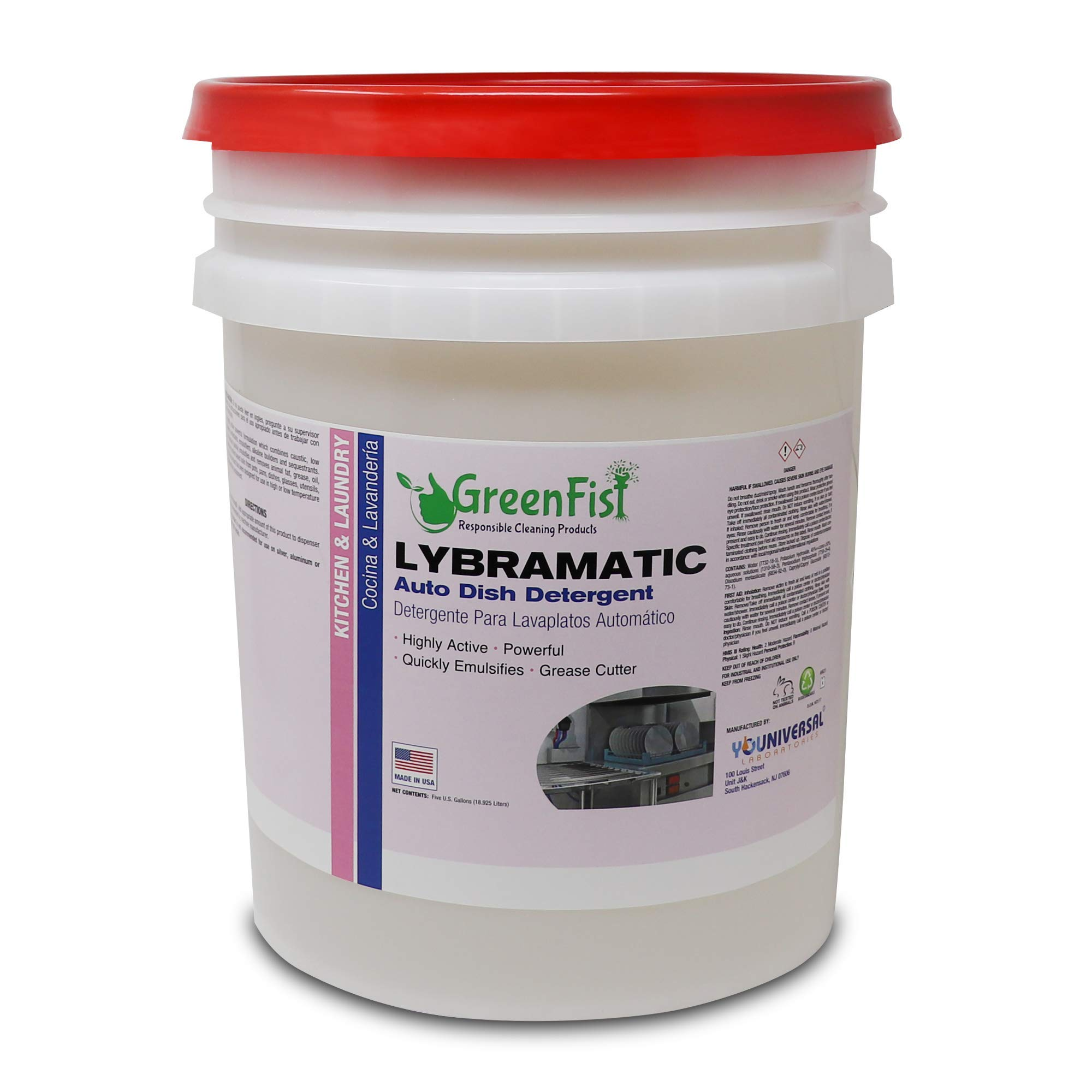 Commercial Dishwasher Detergent Lybramatic [Ready-to-Use] 5 Gallon Pail