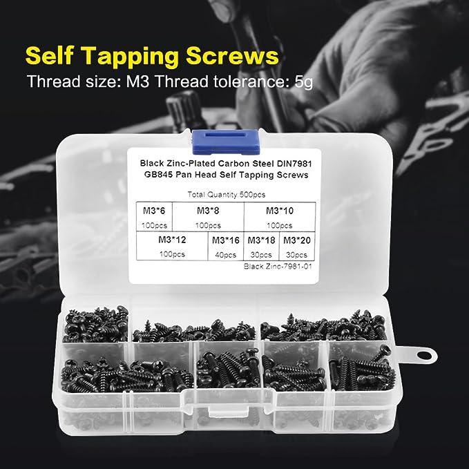 avec 500pcs//Set M3 Noir-zinc plaqué acier carbone Pan Head Self Tapping Vis