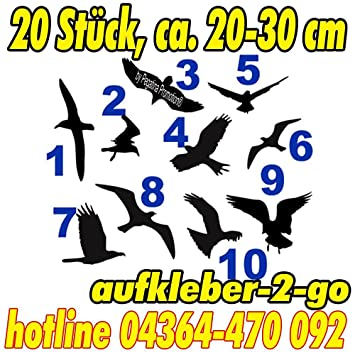 Warnvögel, Fensterschutz, 20 Stück, Vogel je ca. 20-30cm, Silhouette ...