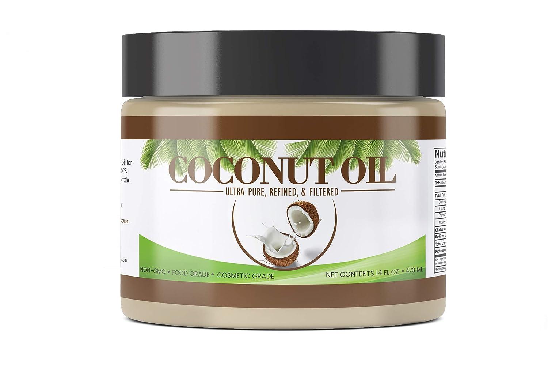 PURE Coconut Oil (14 oz), Ultra Pure, Refined, Filtered, Food Grade, Non-Hydrogenated, No Coconut Flavor or Scent, Non-GMO