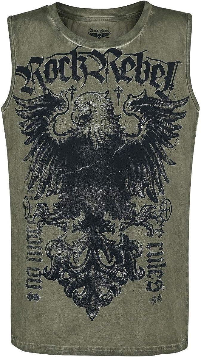 Rock Rebel by EMP Tiger In My Tank Hombre Top Tirante Ancho Aceituna, Regular: Amazon.es: Ropa y accesorios