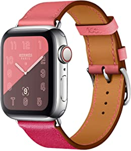 Compatible with Apple Watch Band 38mm 40mm Women Men, Pierre Case Genuine Leather Sweatproof Classic Replacement Strap Stainless Steel Buckle for iWatch Series 6/SE/5/4/3/2/1
