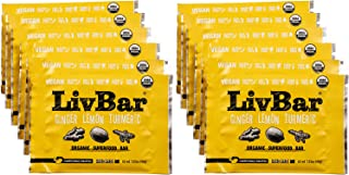 product image for LivBar - Ginger Lemon Turmeric Organic Superfood Bar - USDA Certified - Non-GMO - Gluten, Peanut, Soy, and Dairy Free Protein Snack Bars with Compostable Wrapper - 12 Pack