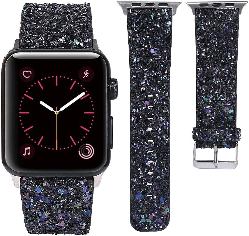 MIFFO Compatible with Apple Watch Band 38mm 40mm 42mm 44mm, 3D Glitter Bling Leather Wristband iWatch Strap Replacement for iWatch SE / Apple Watch Series 6 & Series 5/4/3/2/1 Women