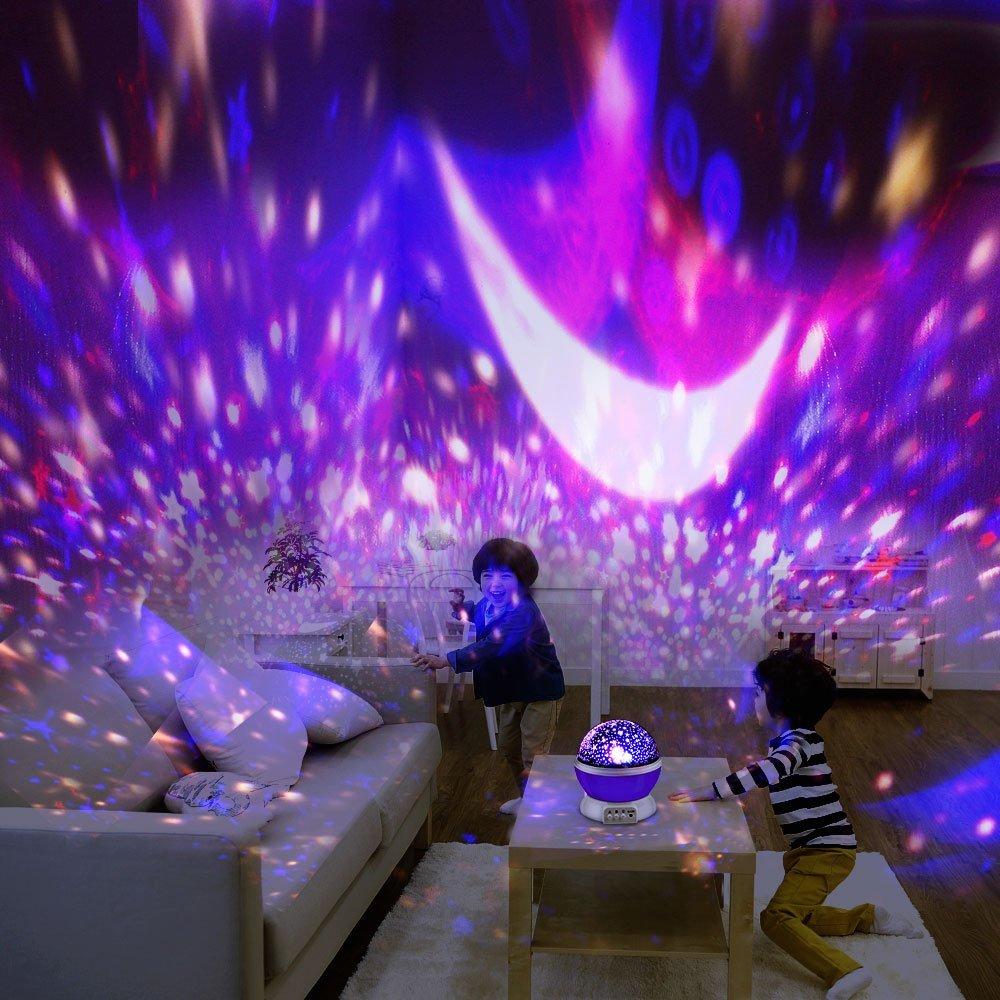 BestFire LED Veilleuse Enfant Lampe Projecteur Etoiles 360/° Rotation Veilleuse Projection Romantique D/écoration pour Chambre F/ête 3 Mod/èle Lumi/ère