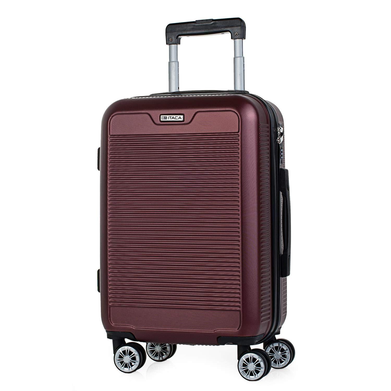ITACA - Maleta de Viaje Rígida 4 Ruedas Trolley 55 cm ABS Lisas. Equipaje de Mano. Dura Resistente y Ligera. Mango Asas Candado. Vuelos Low Cost Ryanair. T72050, Color Rojo