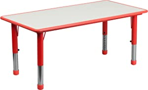 Flash Furniture 23.625''W x 47.25''L Rectangular Red Plastic Height Adjustable Activity Table with Grey Top