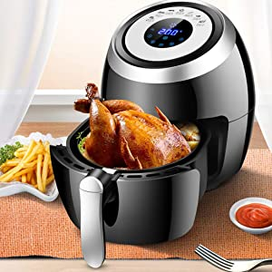 Air Fryer with Rapid Air Circulation System, Frying Technology, 7 Pre-Set Recipe and Adjustable Temperature Control for Healthy Oil Free Or Low Fat Cooking, 1500 W, 5.5 Litre, Black