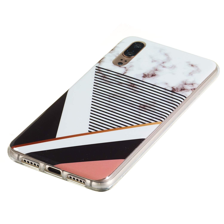 MoreChioce Compatible avec Coque Huawei P20,Compatible avec Coque Huawei P20 Silicone Marbre,Jolie Forever Hybrid Crystal Flexible Souple TPU Bumper Anti-Rayures Defender