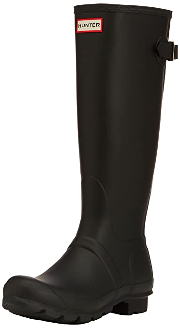 Hunter Womens Original Back Adjustable Black Rain Boot - 5