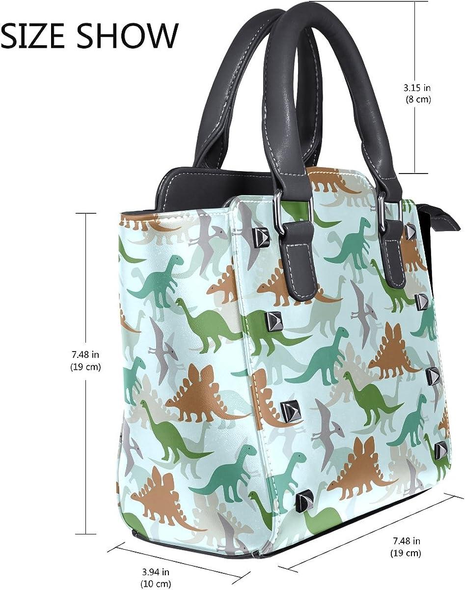 Use4 Hispter Camo Dinosaur Rivet PU Leather Tote Bag Shoulder Bag Purse