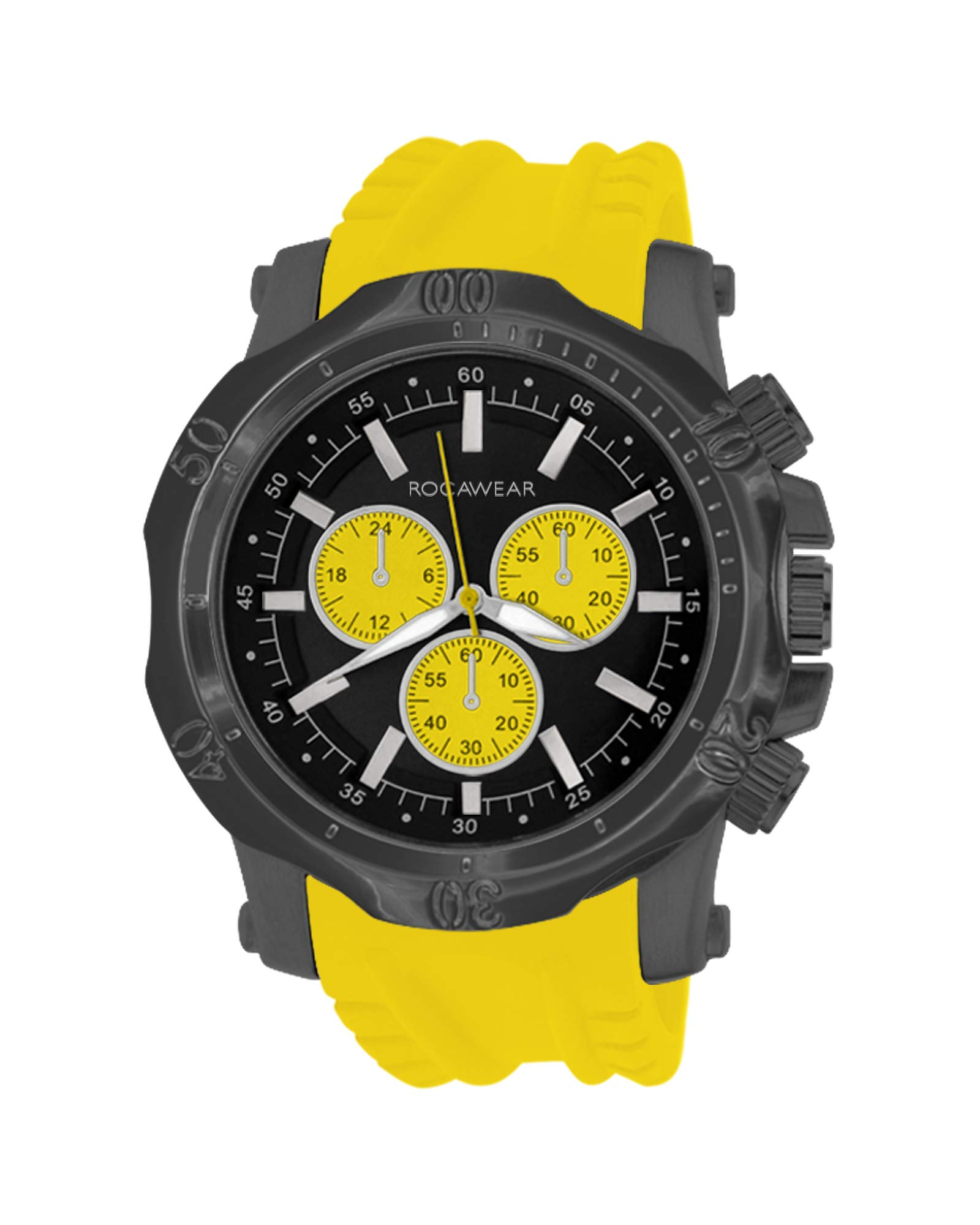 Rocawear Mens Quartz Metal Analog Watch with Oversized Dial (Yellow) by Rocawear