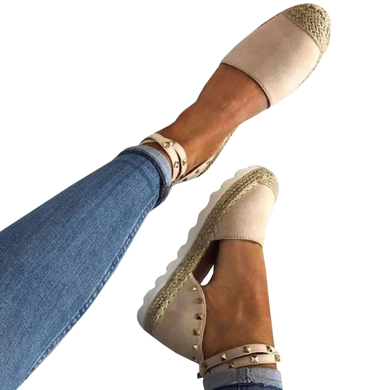 Gemijacka Damen Knouml;chel Schnalle Riemen Espadrilles Ausgeschnitten Binden Niet Klassischen Sommer Flache Sandale Schuhe  37 EU|3-wei?