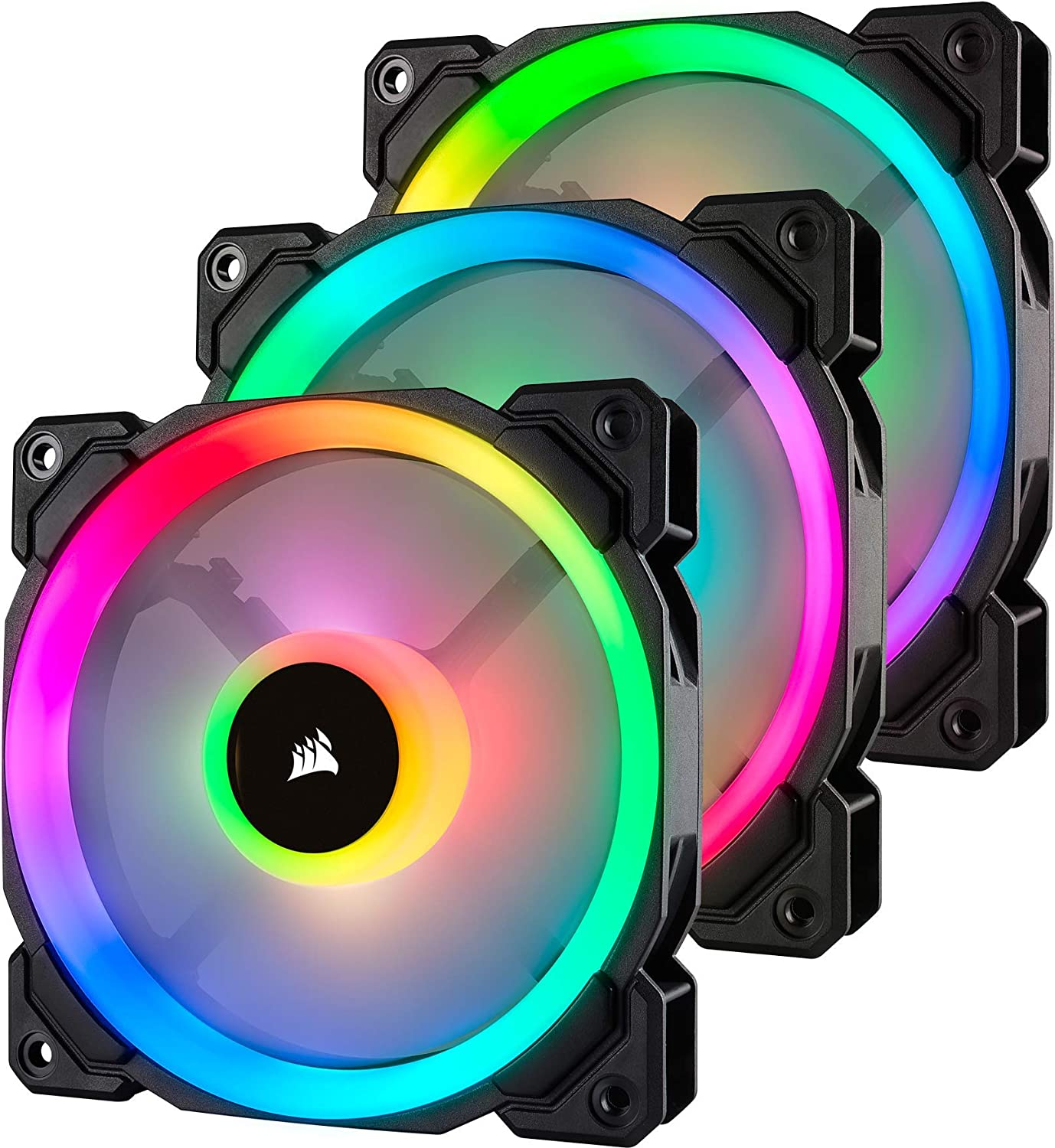 Corsair LL120 RGB Ventilador de PC (120 mm, Doble Halo RGB LED PWM) Paquete Tripla con Lighting Node PRO