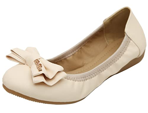 dqq Mujer Bowknot plegable Slip On Zapatillas de ballet, color Beige, talla 37 1/3: Amazon.es: Zapatos y complementos
