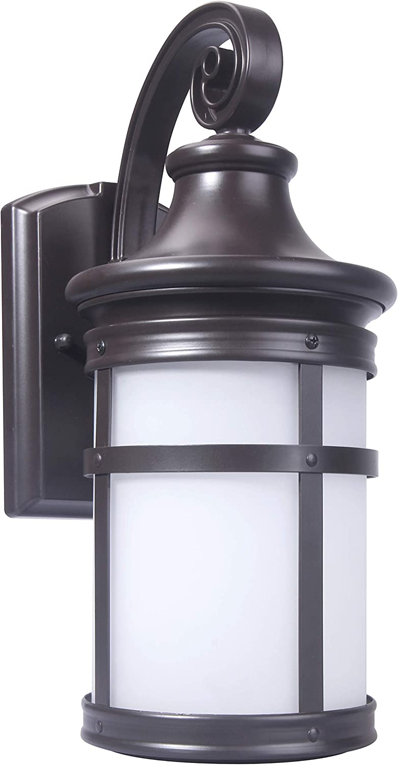 CORAMDEO Large Outdoor LED Round Mission Style Wall Sconce Lantern, Wet Location, Built in LED Gives 120W of Light from 12.5W of Power, 1200 Lumens, 3K, Bronze Finish with Frosted Glass Lens