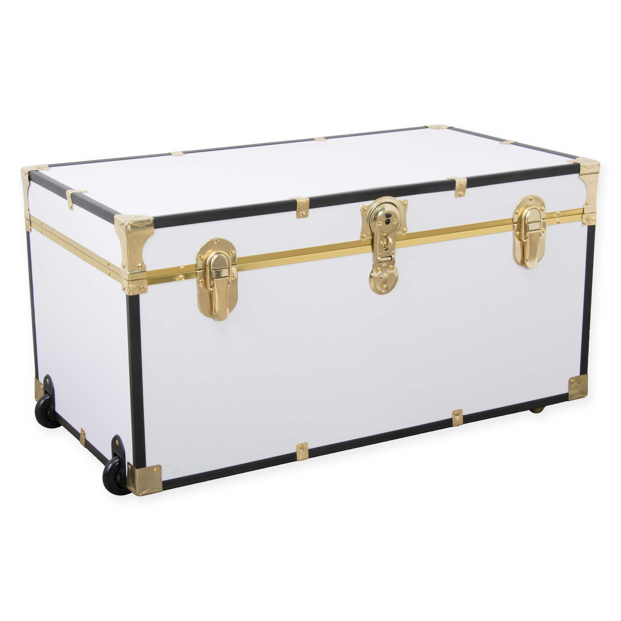 31'' Oversize Storage Foot Locker in White with Black and Gold Trim