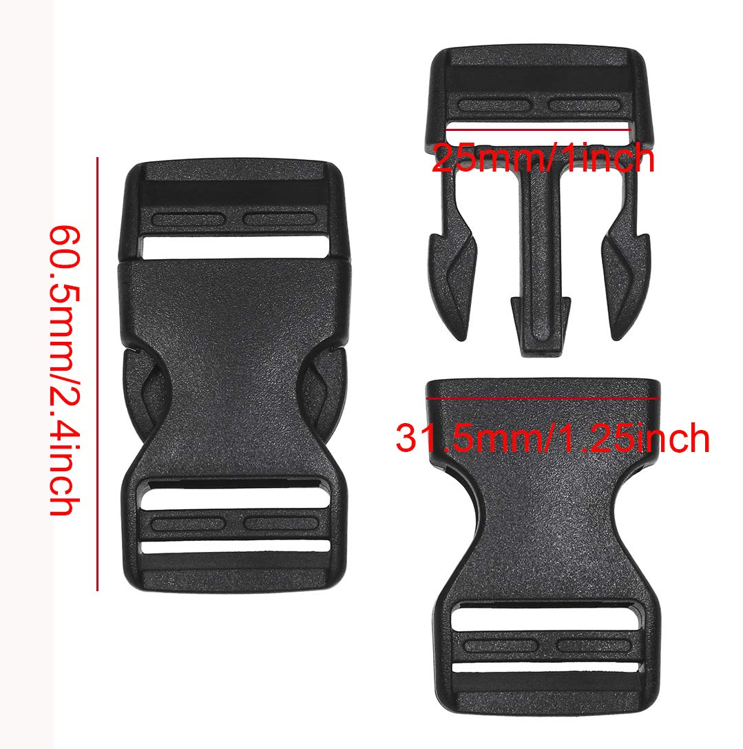 Penta Angel 10Pcs 25mm//1 Inch Black Plastic Buckle Clips Dual Adjustable Buckles Craft Webbing Quick Side Release Buckles for Luggage Straps Pet Collar Backpack Repairing