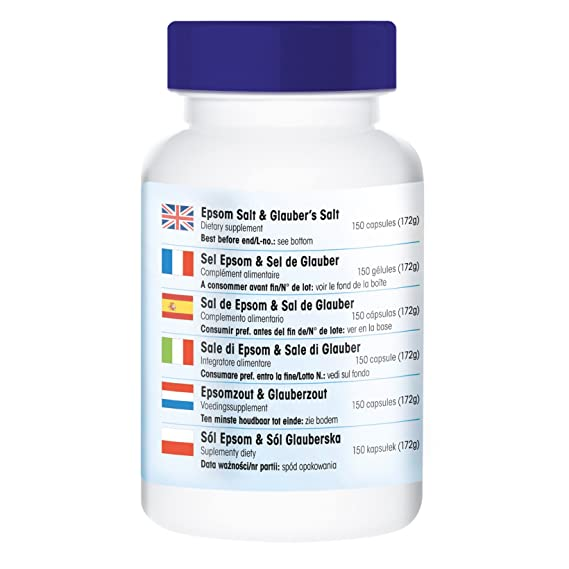 Sal de Epsom & Sal de glauber - 150 cápsulas - artículo vegano - con magnesio y sodio - Fair & Pure: Amazon.es: Salud y cuidado personal