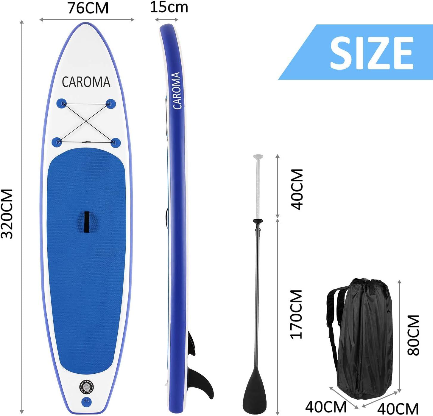 correa de seguridad para el tobillo Caroma mochila de transporte pala ajustable bomba manual 27 cm de largo Kit de surf de pala inflable de alta calidad de SUP 15,24 cm de grosor
