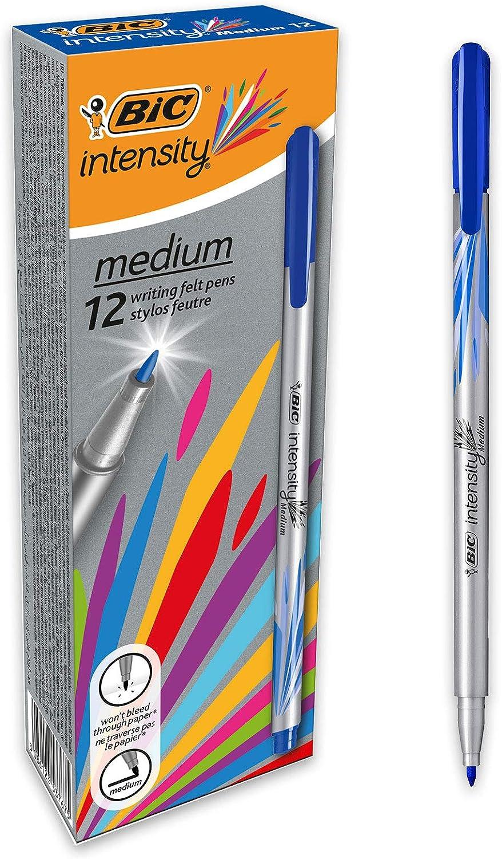 BIC Intesity Medium - Caja de 12 unidades, rotuladores punta media (0,8 mm), color azul: Amazon.es: Oficina y papelería