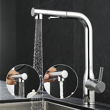 ubeegol Messing Wasserhahn Küche mit Brause Chrom Küchenarmatur ...