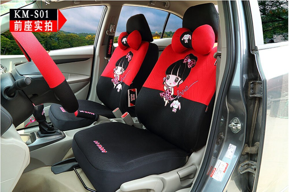 18pcs Cute women cartoon car seat cover universal car-covers breathable fabric by OULILAI