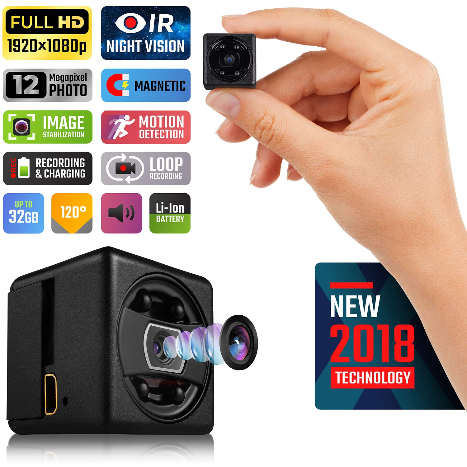 Lilexo Mini Hidden Spy Camera - HD Secret Camera - 1080P Small Magnetic Security Camera - Nanny Cam With Night Vision and Motion Detection - Indoor/Outdoor Surveillance Camera for Home, Car, Office by Lilexo