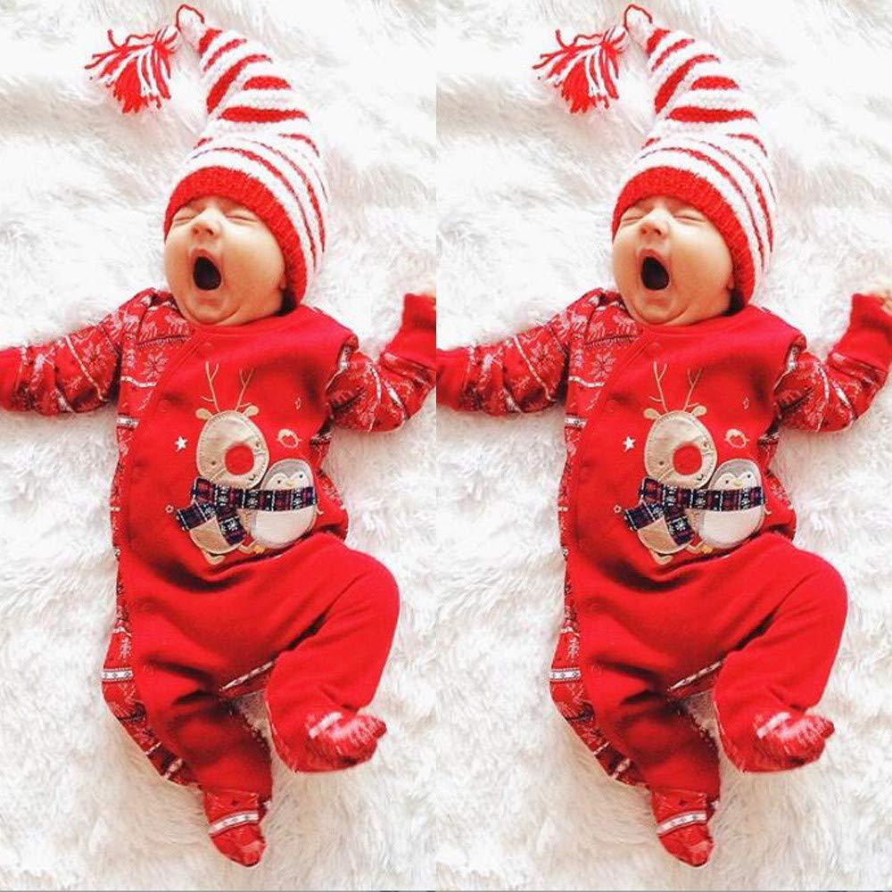 0-2 A/ños,SO-buts Navidad Reci/én Nacido Infantil Beb/é Ni/ños Ni/ñas Invierno Ciervo C/álido Mameluco Body Mono Trajes Ropa