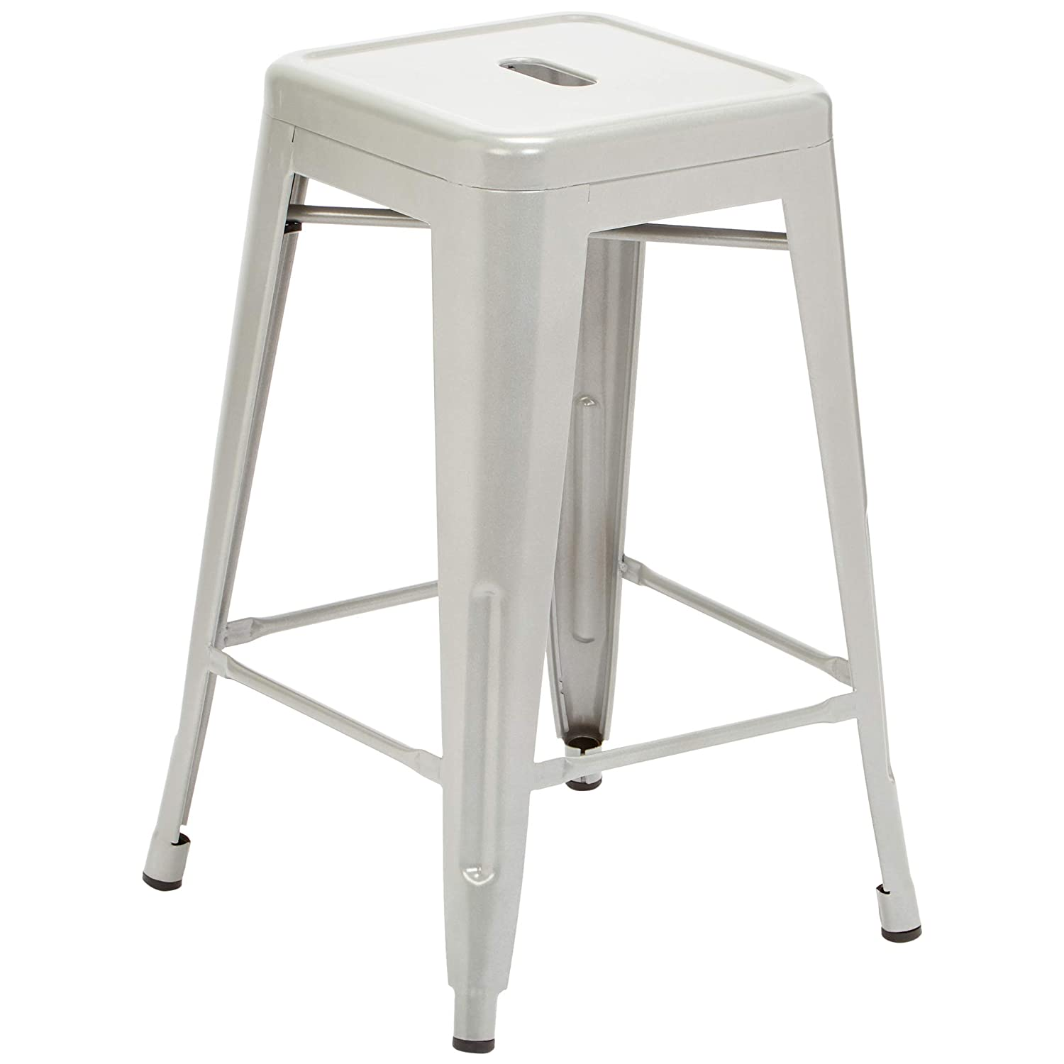 Silver Ice Pioneer Square Haley 24-Inch Backless Square-Seated Counter-Height Metal Stool Set of 4