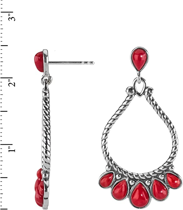 Red Coral Drop Earrings with Sterling Silver by OKMIN Handmade Red Coral Jewellery 35th Anniversary Gift Idea for Her Free UK P/&P E1219CBC