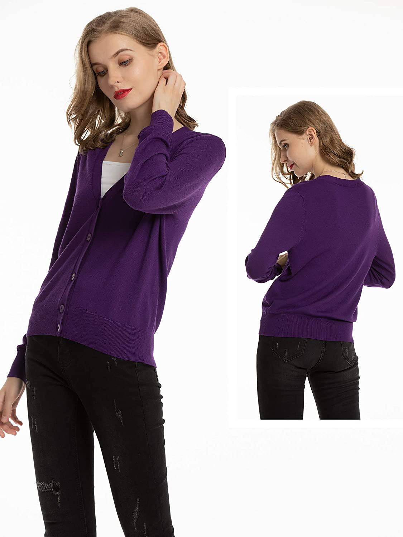 Woolen Bloom Womens Cardigans V Neck Cardigan Lightweight Long Sleeve Button Down Cardigan Sweater