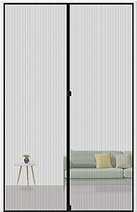 """MAGZO Magnetic Screen Door 30 x 80, Reinforced Fiberglass Mesh Curtain Door Mesh with Full Frame Hook&Loop Fits Door Size up to 30""""x80"""" Max-Grey"""